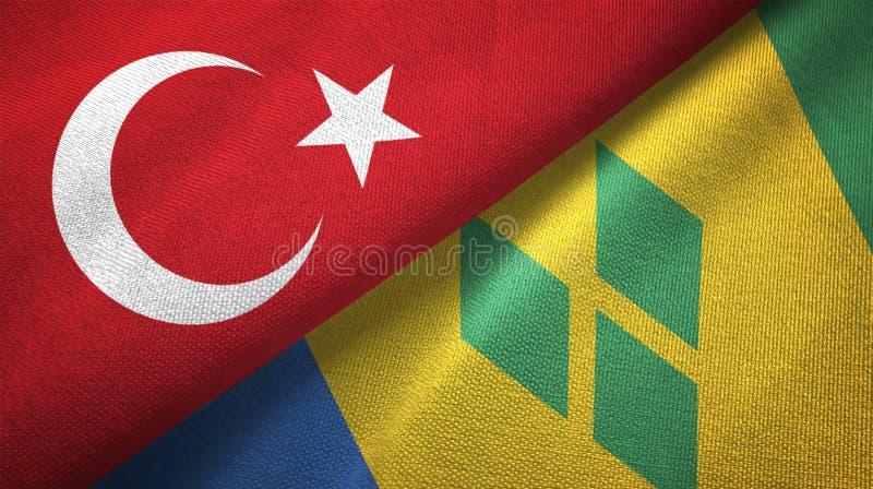 Tissu de textile de drapeaux de la Turquie et du Saint-Vincent-et-les-Grenadines deux illustration de vecteur