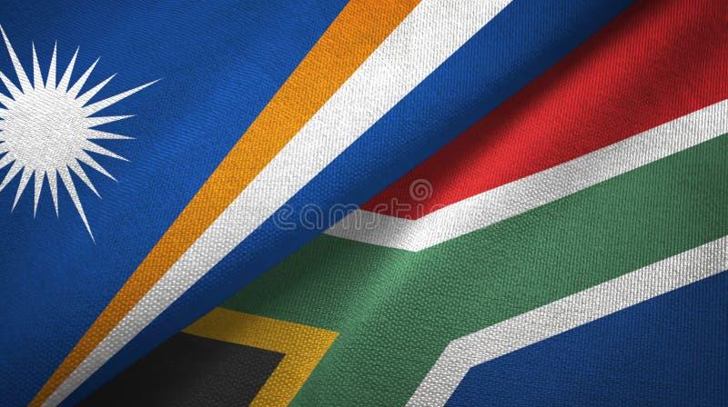 Tissu de textile de drapeaux de Marshall Islands et de l'Afrique du Sud deux, texture de tissu illustration stock