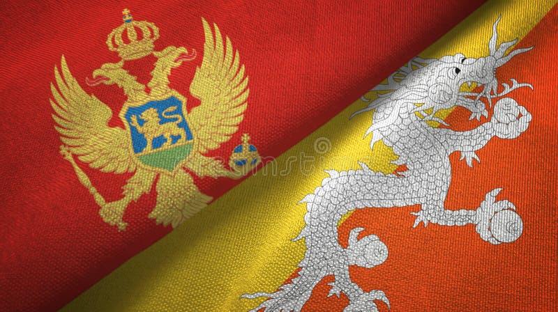 Tissu de textile de drapeaux de Monténégro et du Bhutan deux, texture de tissu illustration stock