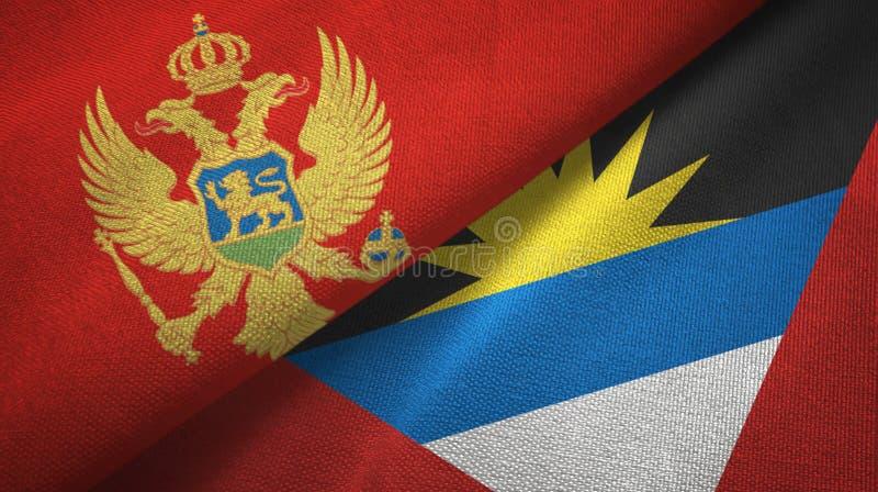 Tissu de textile de drapeaux de Monténégro et de l'Antigua-et-Barbuda deux, texture de tissu illustration stock