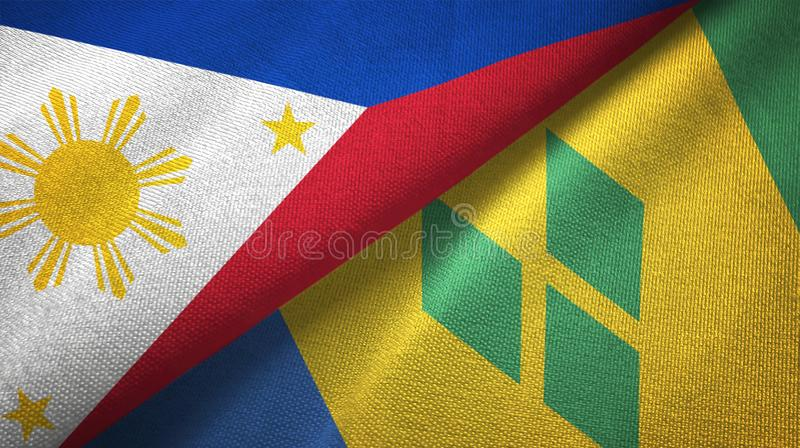 Tissu de textile de drapeaux de Philippines et de Saint-Vincent-et-les-Grenadines deux illustration de vecteur