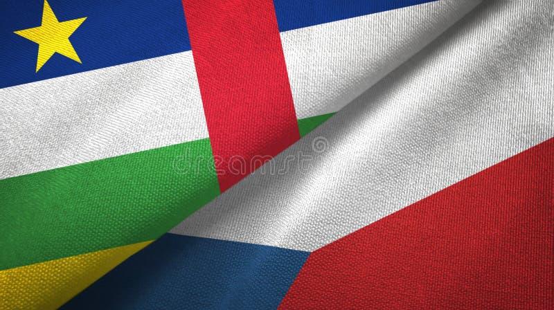 Tissu de textile de drapeaux de R?publique Centrafricaine et de R?publique Tch?que deux photographie stock