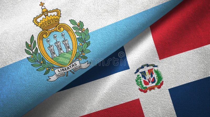 Tissu de textile de drapeaux de République de Saint-Marin et de la République Dominicaine deux, texture de tissu illustration de vecteur