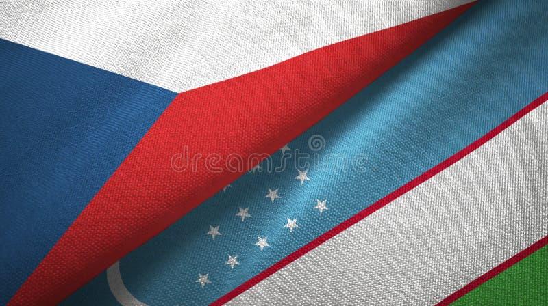 Tissu de textile de drapeaux de République Tchèque et d'Ouzbékistan deux, texture de tissu illustration stock