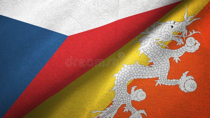 Tissu de textile de drapeaux de République Tchèque et du Bhutan deux, texture de tissu illustration stock