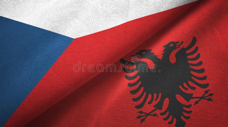 Tissu de textile de drapeaux de République Tchèque et de l'Albanie deux, texture de tissu illustration libre de droits