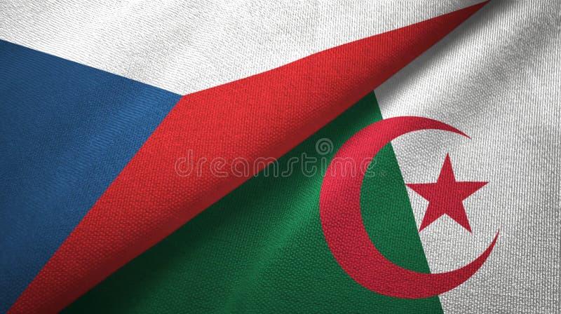 Tissu de textile de drapeaux de République Tchèque et de l'Algérie deux, texture de tissu illustration stock