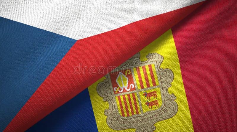 Tissu de textile de drapeaux de République Tchèque et de l'Andorre deux, texture de tissu illustration stock