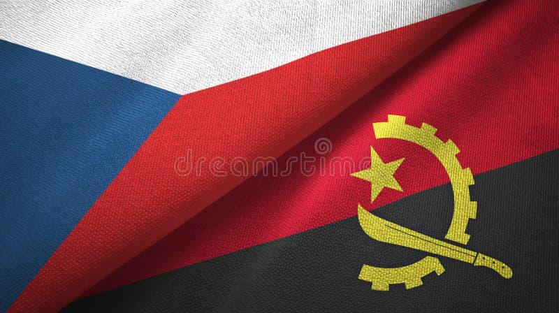 Tissu de textile de drapeaux de République Tchèque et de l'Angola deux, texture de tissu illustration de vecteur