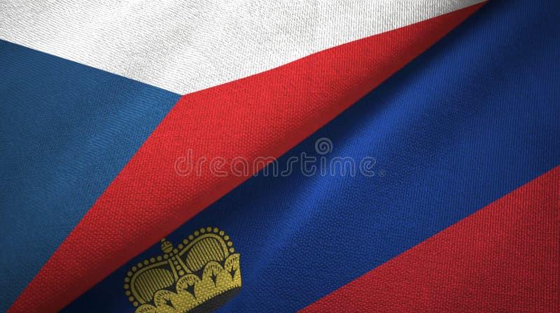 Tissu de textile de drapeaux de République Tchèque et de la Liechtenstein deux, texture de tissu illustration de vecteur