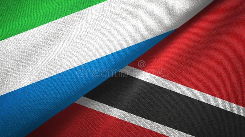 Tissu de textile de drapeaux de Sierra Leone et du Trinidad-et-Tobago deux, texture de tissu photos stock