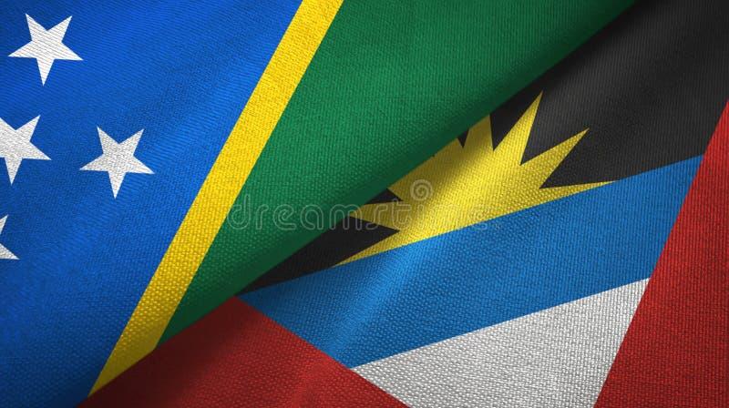 Tissu de textile de drapeaux de Solomon Island et de l'Antigua-et-Barbuda deux, texture de tissu illustration stock