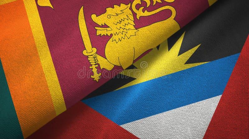 Tissu de textile de drapeaux de Sri Lanka et de l'Antigua-et-Barbuda deux, texture de tissu illustration libre de droits
