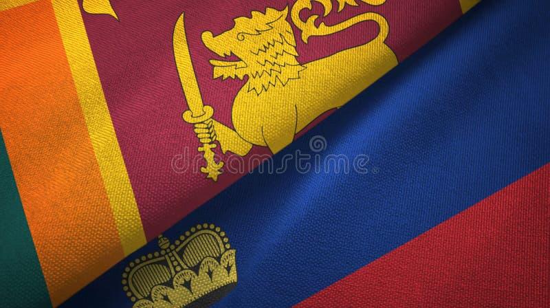 Tissu de textile de drapeaux de Sri Lanka et de la Liechtenstein deux, texture de tissu illustration de vecteur