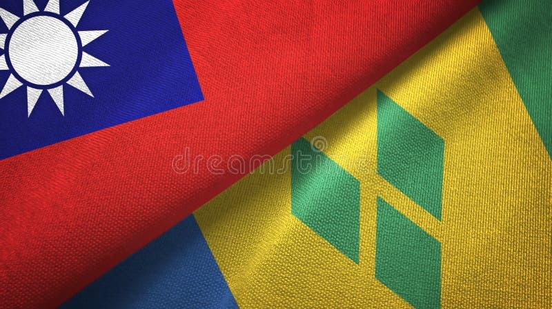Tissu de textile de drapeaux de Taïwan et de Saint-Vincent-et-les-Grenadines deux illustration libre de droits