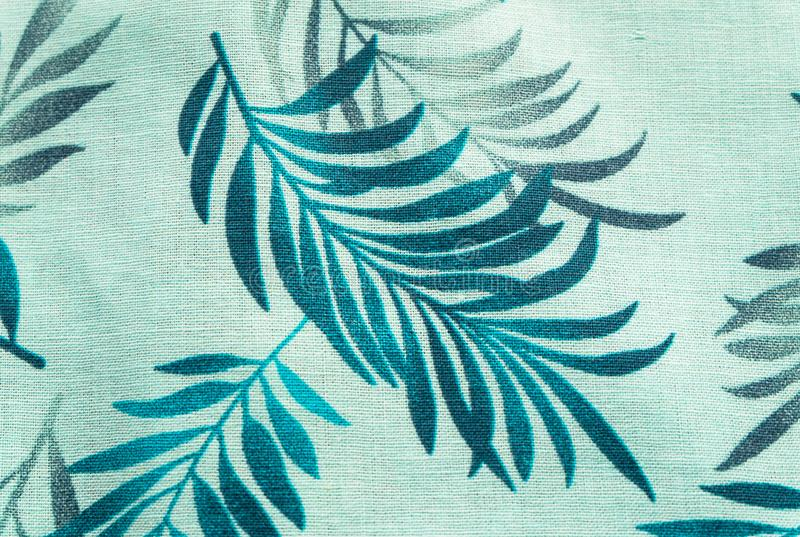 Tissu de toile naturel avec l'ornement floral Fond texturisé abstrait photographie stock libre de droits