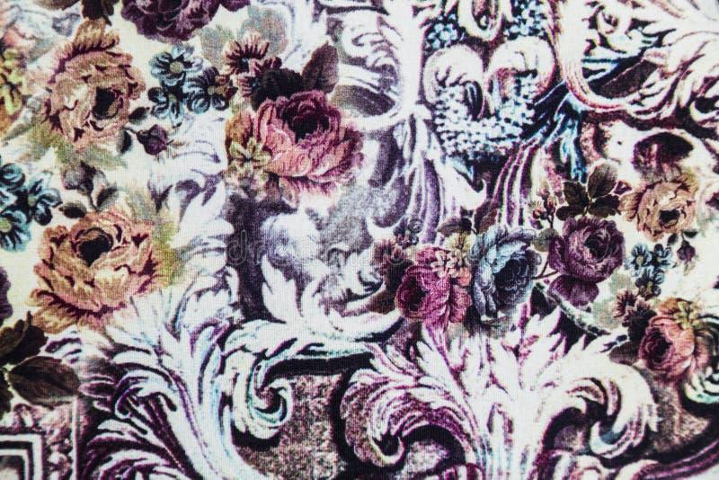 Tissu de tricots avec le modèle abstrait floral photographie stock