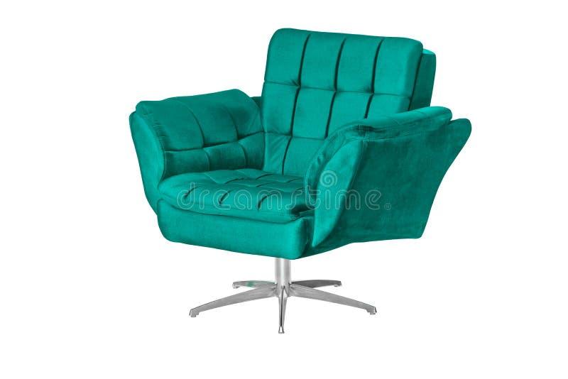Tissu de velours et concepteur moderne de fauteuil en bois images stock