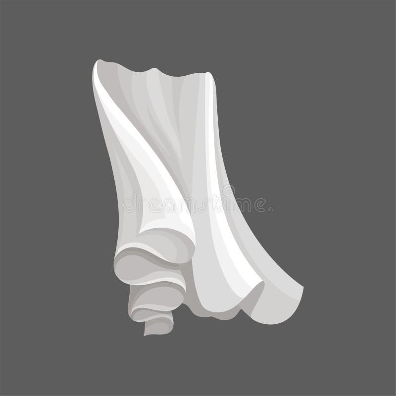 Tissu en soie blanc Longs rideaux volant sur le vent Élément plat de vecteur pour faire de la publicité l'affiche ou l'insecte du illustration stock