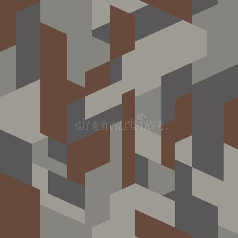 Tissu isométrique de camouflage Texture à la mode, vecteur Modèle sans couture polygonal de camo géométrique illustration stock