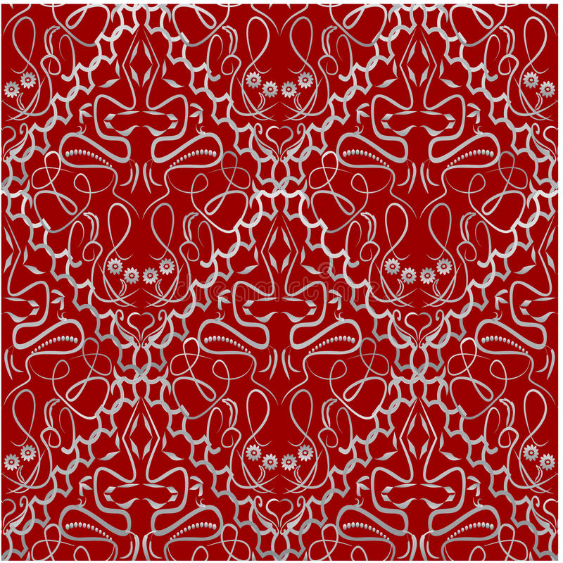 Tissu rouge avec un modèle à l'ancienne de brocard illustration libre de droits