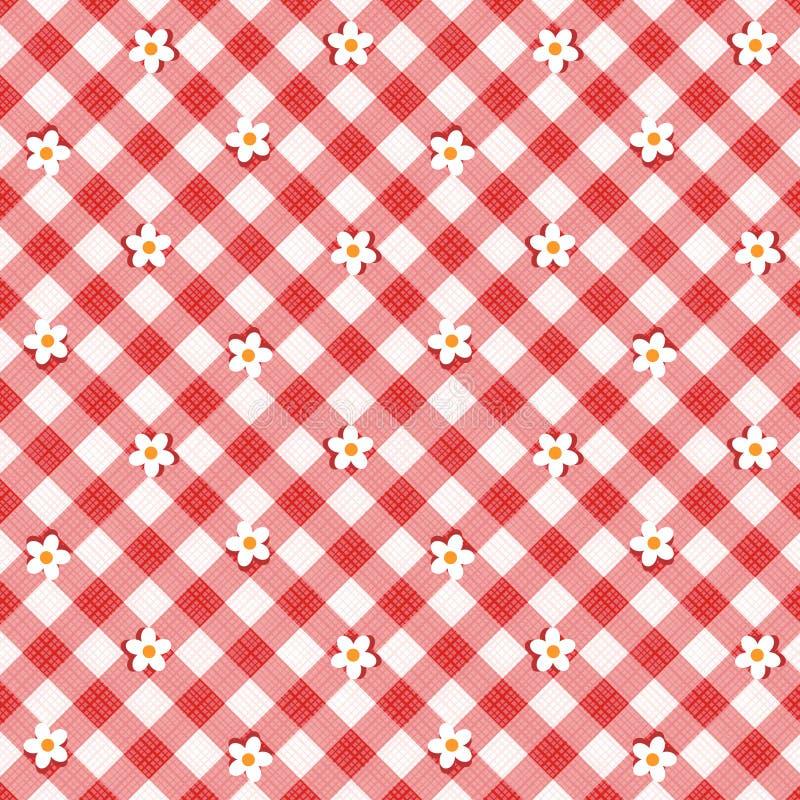 Tissu rouge de tissu de guingan avec des fleurs, configuration sans joint comprise illustration libre de droits