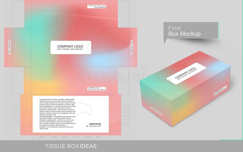 Tissue box template concept series. Abstract colorful tissue box concept, template for business purpose, place your text and Logos and ready to go for print stock illustration