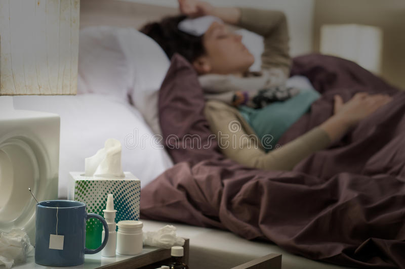 Tissue, Flu Medicines Ill Woman Bedside Table Royalty Free Stock Photos