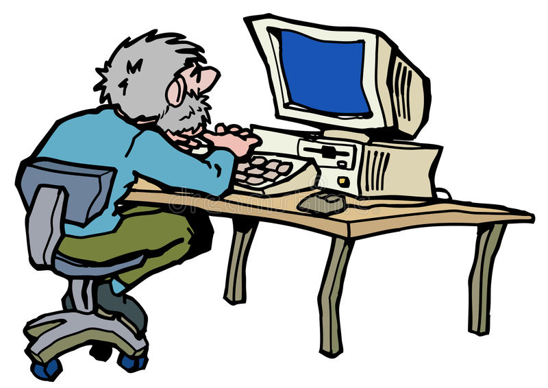 Desktop PC werry old vector illustration