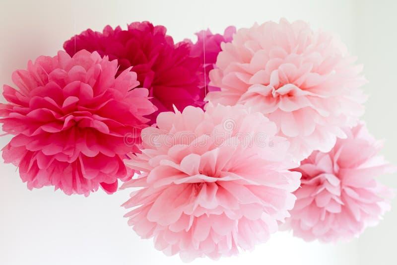 Tissue pompoms royalty free stock photo