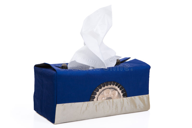 Tissue on wrapped box royalty free stock image