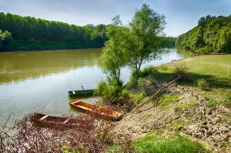 Tisza River at Tiszadada, Hungary. Summer season landscape. Wooden boats on the water. Green forest along the river. royalty free stock images