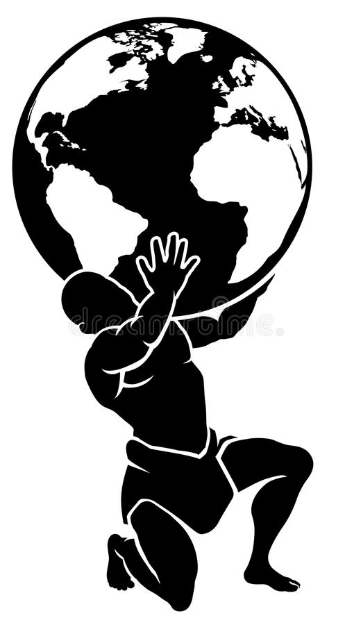 Titán del atlas que sostiene el globo libre illustration