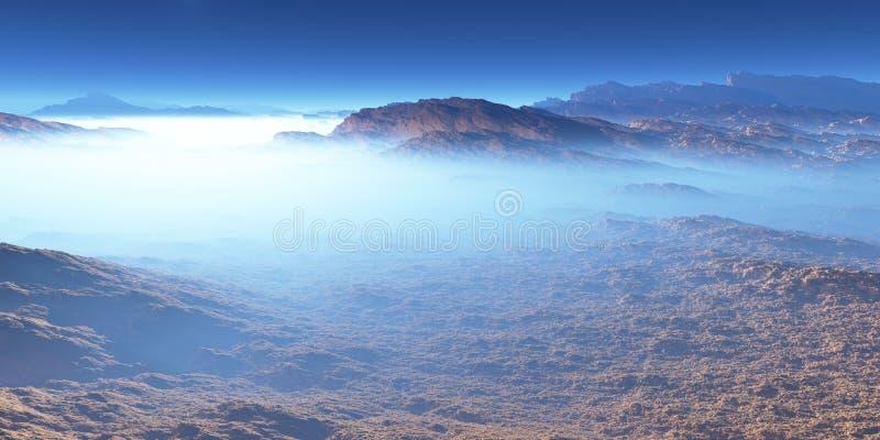 Titaan, grootste maan van Saturn met atmosfeer Oppervlaktelandschap van Titaan stock foto's