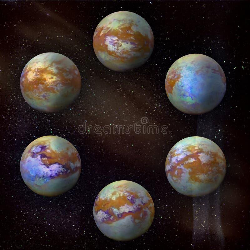 Titan de la lune de Saturn, ensemble de six au fond d'étoiles de galaxie image stock