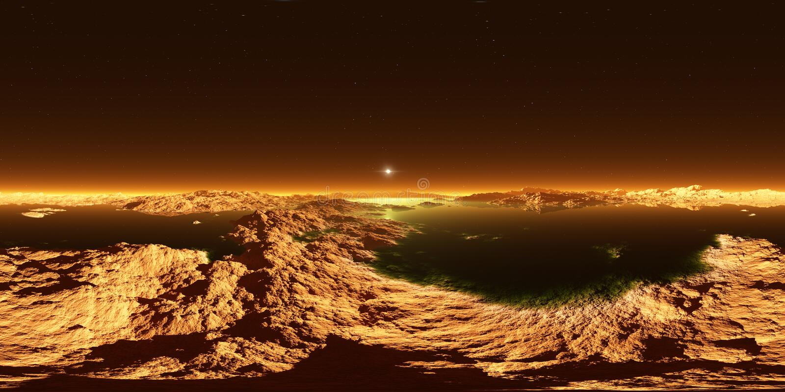 Titan, largest moon of Saturn with atmosphere. Panorama, environment 360 HDRI map. Equirectangular projection, spherical panorama. Surface landscape of Titan royalty free illustration