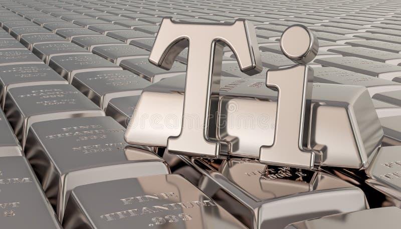 Titanbarrenhintergrund mit Tisymbol Wiedergabe 3d vektor abbildung