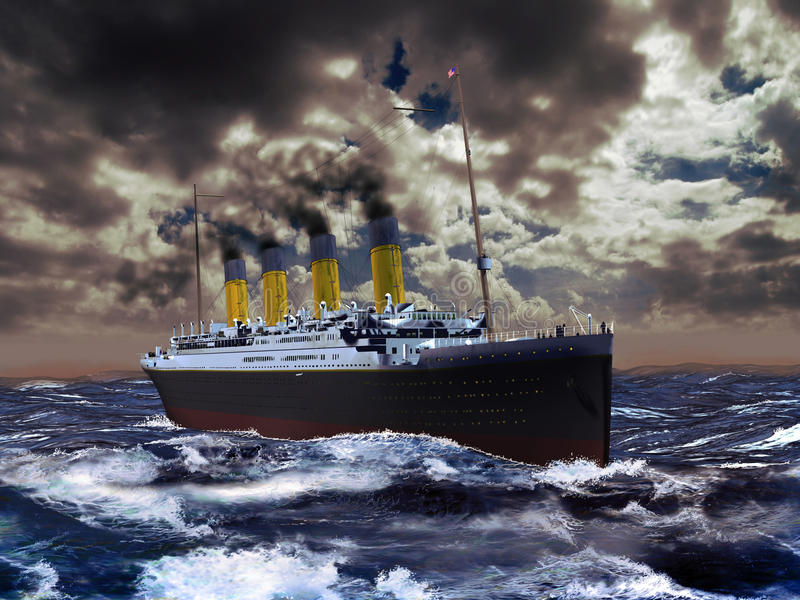 Titanic. The Titanic boat, sailing on the ocean under a cloudy sky