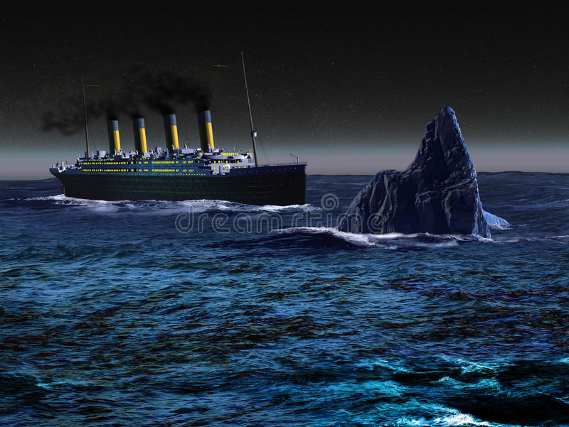 Titanic. The Titanic liner, sailing on the ocean by night, under stars, and approaching dangerously an iceberg