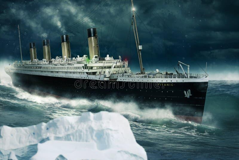 Titanic on the Atlantic stock photo