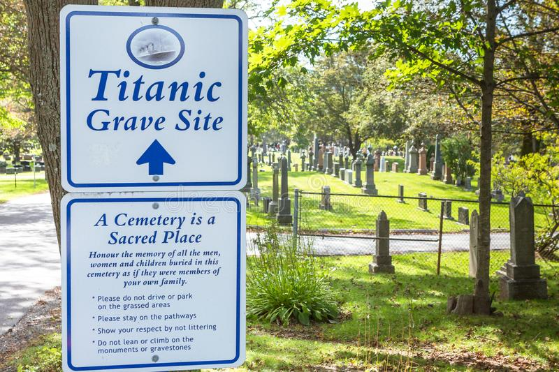 Titanic Cemetery. Place in the city of Halifax in Canada where t royalty free stock images