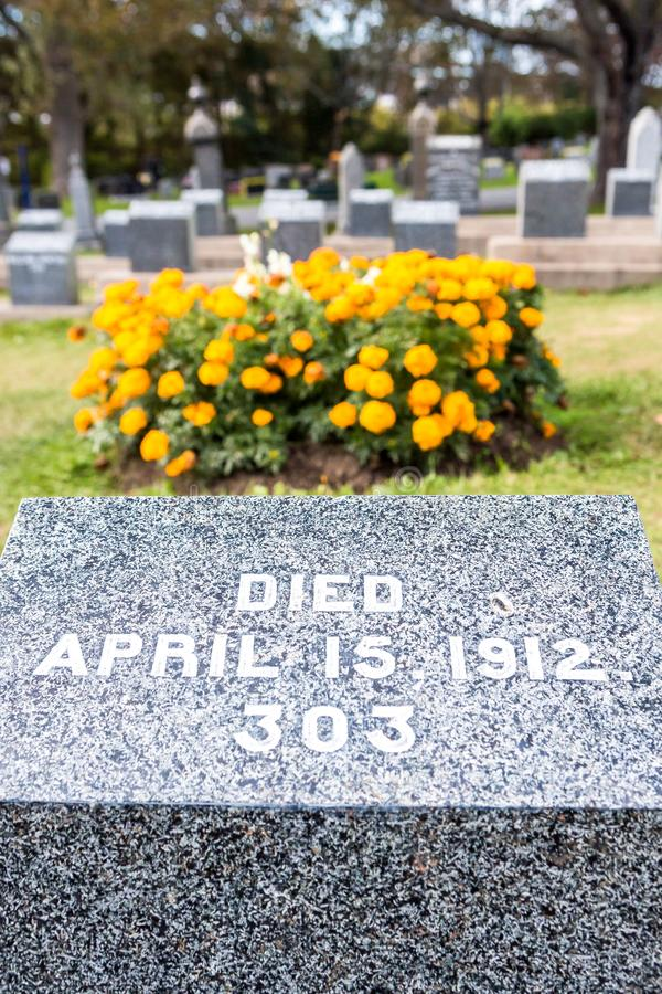Titanic Cemetery. Place in the city of Halifax in Canada where t. He victims of the shipwreck were buried stock photography