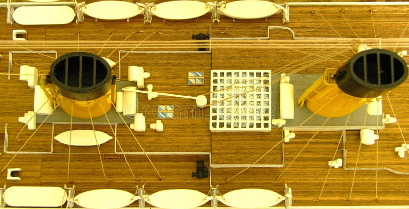Titanic cupola funnels rigging lifeboats. Bird's eye detailed view of titanic's deck including its famous cupola 1st and 2nd funnels rigging and lifeboats stock photo