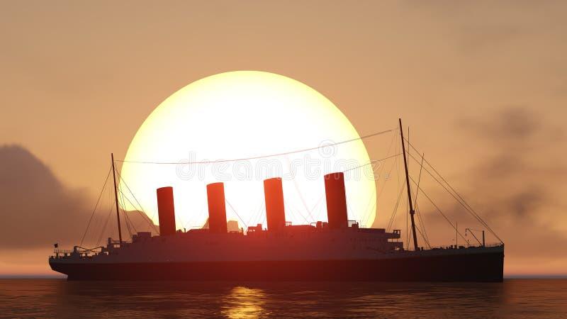 Titanic et coucher du soleil illustration de vecteur