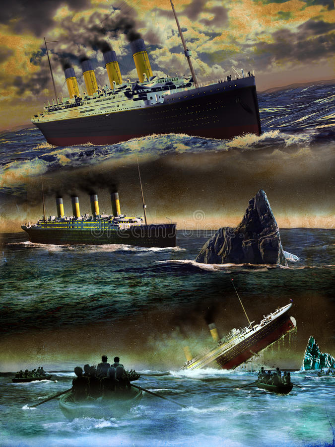 Titanic on grunge. Three scenes representing the Titanic liner. The first image with the Titanic navigating the Atlantic. The second image with the Titanic