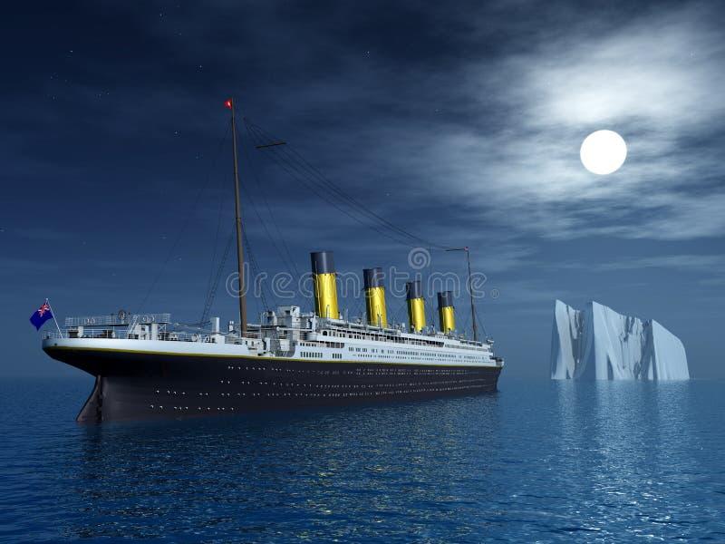 Titanic and Iceberg stock illustration