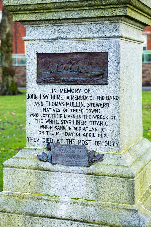 Titanic memorial Dumfries. The Titanic Memorial in Dock Park, Dumfries, south west Scotland (Port of Dumfries) commemorates two natives of Dumfries who were stock images
