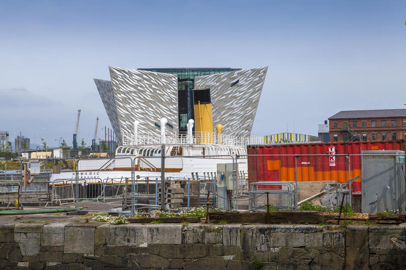 Titanic Museum, Belfast, Northern Ireland. Titanic museum in Belfast, Northern ireland, seen rising behind the docks development area. The museum was constructed royalty free stock photos