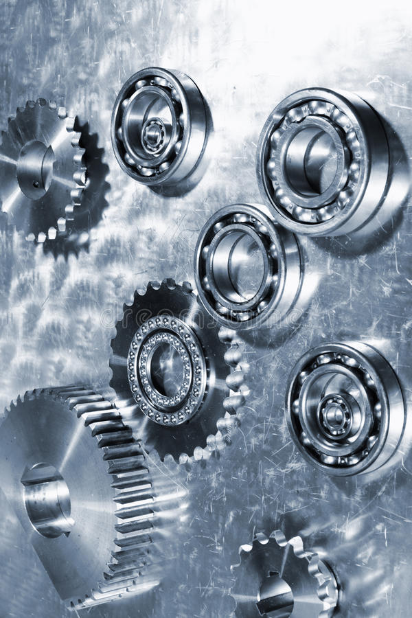 Titanium ball-bearings and gears stock photo