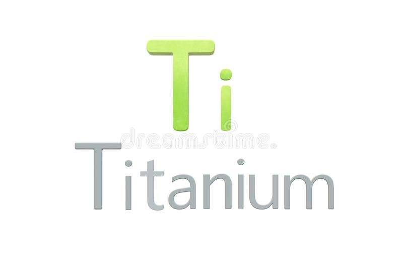 Titanium chemical symbol as in the periodic table. A computer generated illustration image of the chemical symbol of Titanium as in the periodic table against a royalty free illustration